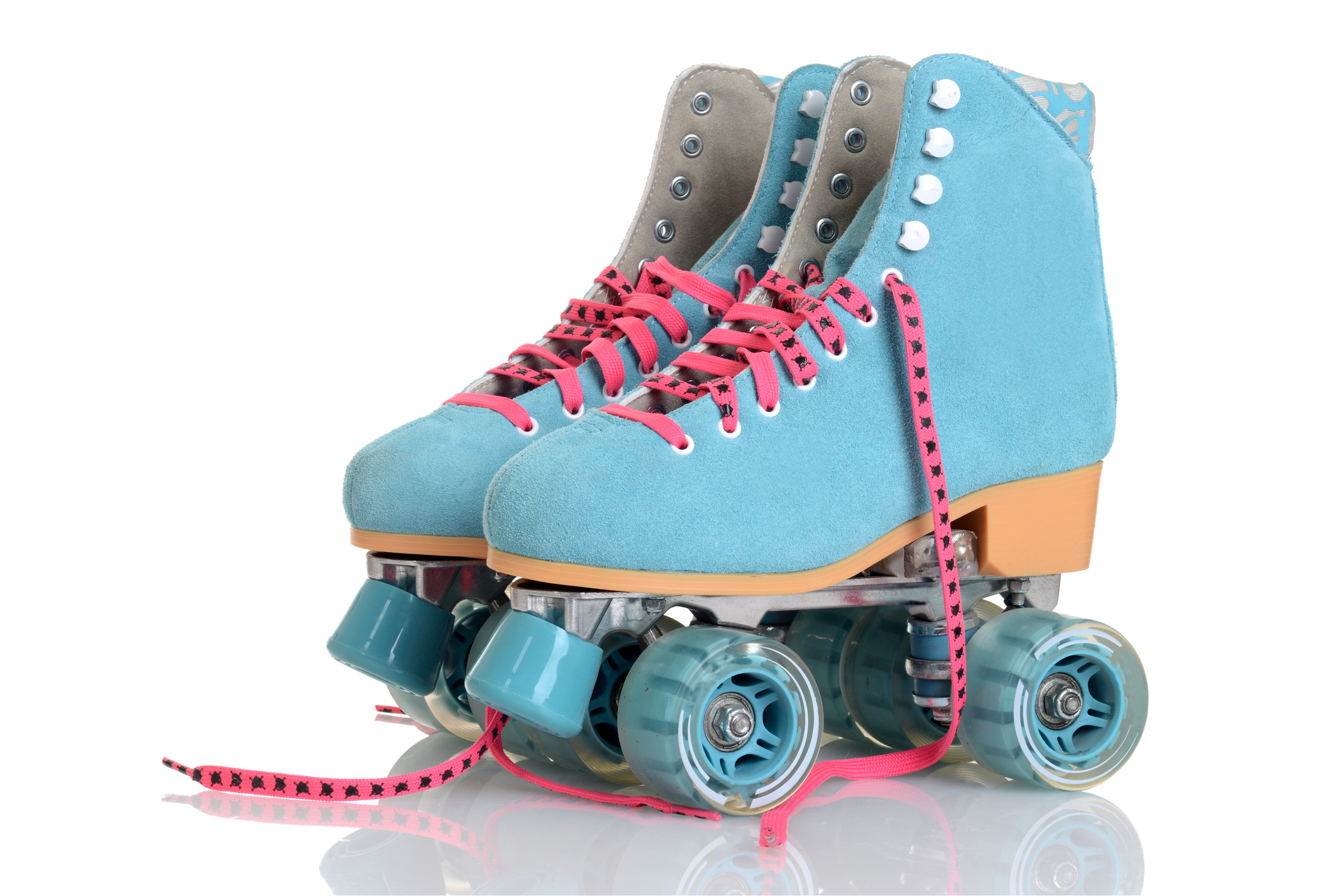 women blue suede quad roller skates on white